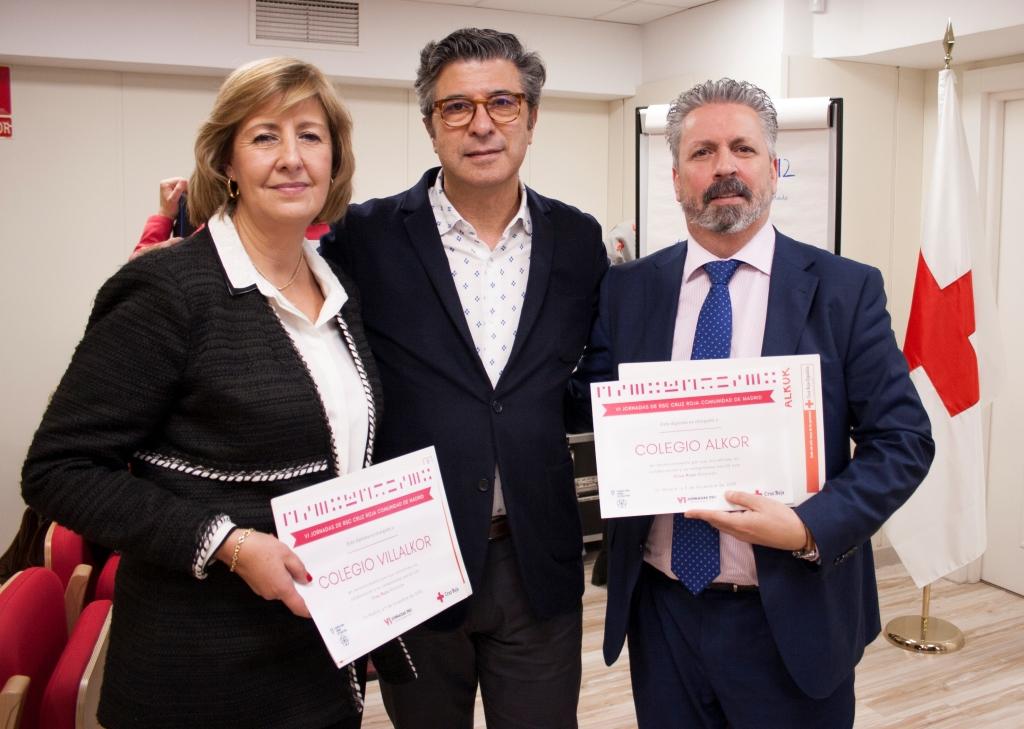 Los directores de Alkor y Villalkor, con el presidente de Cruz Roja Alcorcón